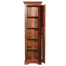 Farmhouse Louvered Door Solid Acacia Wood Tall Narrow Linen Cabinet