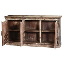 Barwick Rustic Reclaimed Wood 3 Shutter Door Large Buffet Cabinet