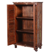 Britton Louvered Doors Reclaimed Wood Armoire Closet With Shelves