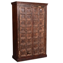 North Perry Solid Reclaimed Wood Large Armoire With Shelves
