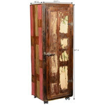 Clewiston Tall Rustic Reclaimed Wood Linen Cabinet With Rolling Wheels