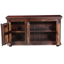 Antique Sunburst Mango & Reclaimed Wood Large Rustic Buffet Cabinet