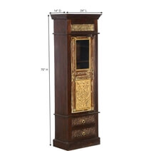 Elizabethan Golden Mango & Reclaimed Wood Narrow Armoire With Drawers