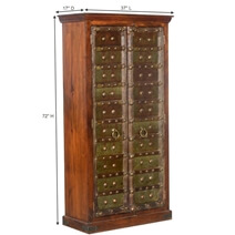 Elizabethan Green Mango & Reclaimed Wood Traditional Armoire Cabinet