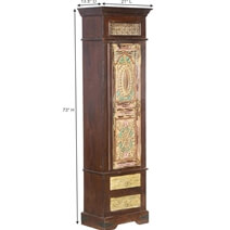 Perryton Carved Mango & Reclaimed Wood Tall Linen Cabinet With Drawers