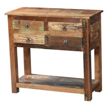 Ashland Rustic Reclaimed Wood 4 Drawer Hallway Console Table