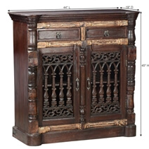 Anoka Hand Carved Rustic Reclaimed Wood Traditional Storage Cabinet