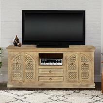 Tudor Winter White Mango Wood 2 Drawer TV Media Console Cabinet