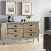 French Provincial Solid Mango Wood Bedroom Dresser Chest With 6 Drawer