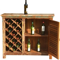 Garrard Rustic Reclaimed Wood Single Door Bar Cabinet with Wine Storage