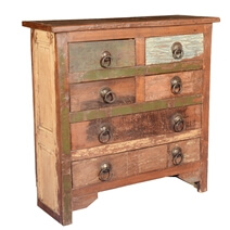 Rustic Farmhouse Reclaimed Wood 6 Drawer Standard Vertical Chest