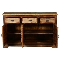 Bray Reclaimed Wood Shutter Door 3 Drawer Rustic Sideboard Cabinet