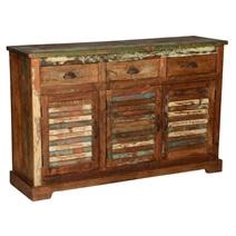 Austin Shutter Door 3 Drawer Rustic Reclaimed Wood Sideboard