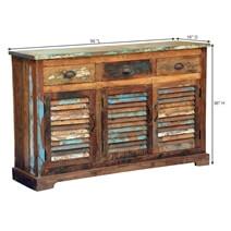Appalachian Summer Shutter Door Reclaimed Wood 3 Drawer Sideboard