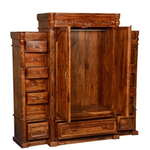 Royal Elizabethan Solid Wood Large Wardrobe Armoire With 15 Drawers