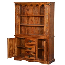 Pennsylvania Dutch 3 Open Shelf Rustic Solid Wood Bookcase Hutch