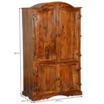 Modern Gothic Rustic Solid Hardwood 4 Door Bedroom Wardrobe Armoire