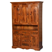 Pennsylvania Dutch Solid Wood 70 Breakfront Freestanding Cabinet