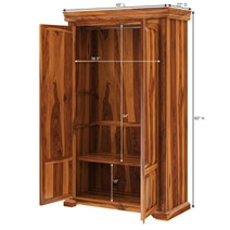 Empire Bedroom Rustic Solid Wood Large Armoire Wardrobe With Shelves