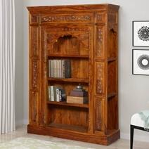 Royal Elizabethan 10 Open Shelf Rustic Solid Wood Arched Bookcase