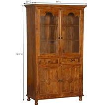 Dutch Solid Wood Display Cabinet Armoire With Shelves & Drawers