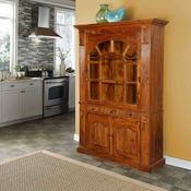 Early American Solid Wood Breakfront Display Cabinet