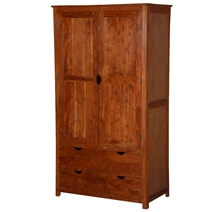 Ardencroft Large Rustic Solid Acacia Wood Armoire Wardrobe With Drawer