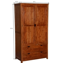 Ardencroft Rustic Solid Acacia Wood Large Armoire Wardrobe With Drawer