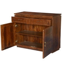 Modern Rustic Solid Wood Freestanding 2 Drawer Buffet Cabinet