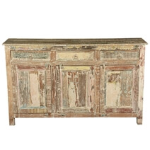 Floydville Distressed Rustic Reclaimed Wood 3 Drawer Sideboard Cabinet