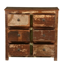 Frontier Rustic Reclaimed Wood 6 Drawer Double Dresser