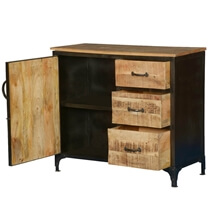 Bowbells Rustic Mango Wood 3 Drawer Industrial Sideboard Cabinet