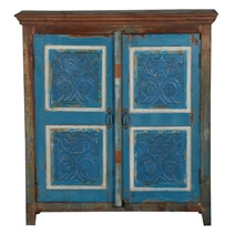 Farnham Hand Carved Rustic Reclaimed Wood Hall Console Cabinet