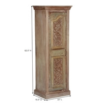 Frosted French Provincial Mango Wood Tower Armoire Cabinet