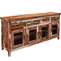 Peoria Modern Rustic Solid Wood 4 Door 4 Drawer Large Buffet Cabinet
