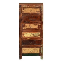 Frontier Rustic Reclaimed Wood Distressed 6 Drawer Tall Dresser