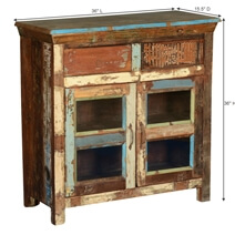 Alhambra Rustic Reclaimed Wood Glass Door 2 Drawer Buffet Cabinet