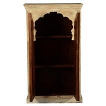 Primitive Gothic Antique White Mango Wood Double Door Cabinet