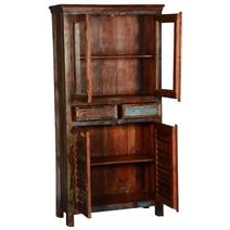 Bernice Rustic Reclaimed Wood Freestanding Display Cabinet Armoire