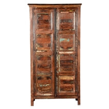 Byron Rustic Solid Reclaimed Wood Cabinet Armoire With Shelves