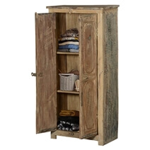 Rustic Distressed Finish Solid Reclaimed Wood Small Armoire Cabinet