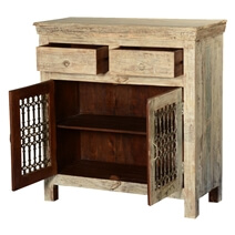 Winter White Iron Grill Reclaimed Wood Freestanding Buffet Cabinet