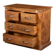Modern Farmhouse Solid Mango Wood 4 Drawer Rustic Dresser