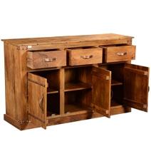 Modern Farmhouse Solid Wood 3 Drawer Rustic Sideboard Cabinet