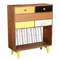 60's Retro Earth Tones Mango Wood Open Shelf 6 Drawer Vertical Dresser