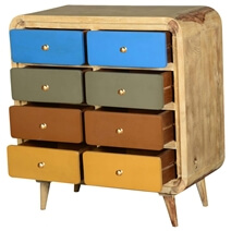 60's Retro Rounded Corners Solid Wood 8 Drawer Double Dresser