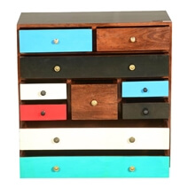 60's Retro Mango Wood 10 Drawer Vertical Dresser Chest