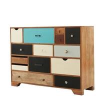 Souris Retro Rainbow Mango Wood 14 Drawer Dresser