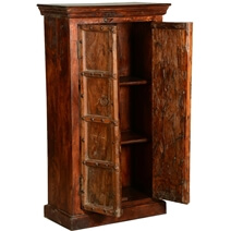 Cankton Antique Rustic Solid Reclaimed Wood Tall Storage Cabinet