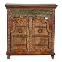 Rustic Gothic Gates Reclaimed Wood Freestanding Storage Cabinet